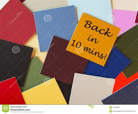 post it bureau back in ten minutes back soon sign for business stock
