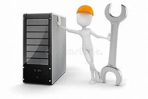 3d Man And Server  Hardware Maintenance Royalty Free Stock