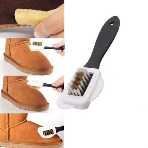 3 side shoe cleaning brushes suede nubuck three side shoe