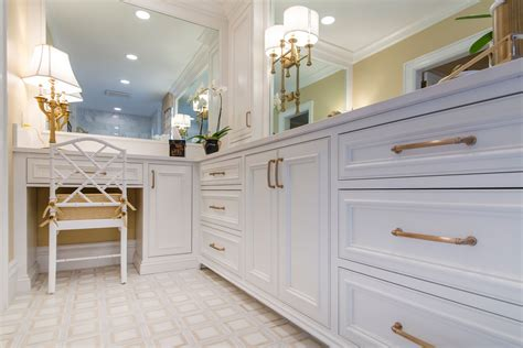 White Cabinets Bronze Hardware by White Bathroom Cabinets Inset Build Method Chagne