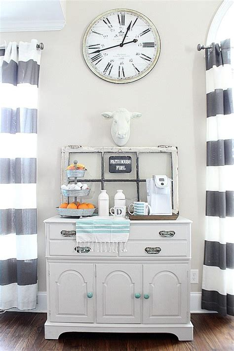 In the rustic concept, wooden furniture and flooring are being prioritized, while other furniture with modern look are missed. Coffee Station - Farmhouse Style | Refresh Restyle