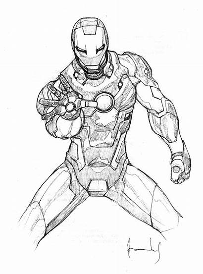 Iron Coloring Pages Super Drawings Scketches Heroes