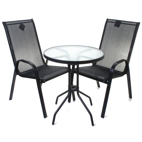 3pc black textoline bistro set garden furniture patio