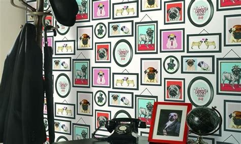 pug framed wallpaper  roll groupon goods