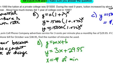 unit 10 lesson 7 no exle 4 linear quadratic and exponential word problems youtube