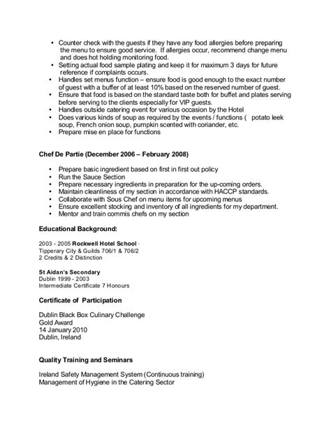 Commis Chef Resume Exles by Sle Chef Cv For Overseas
