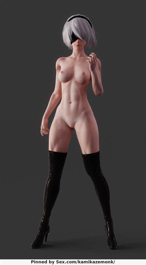 nude yorha 2b [nier automata] toned body by kamikazemonk