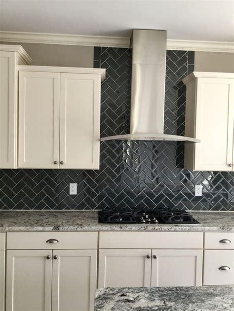 color wave  top hat glass tiles  herringbone pattern