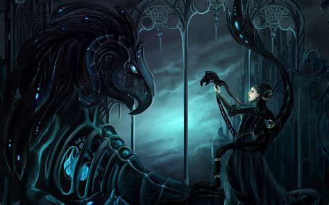 gothic fantasy art dark mech dragons women females mood