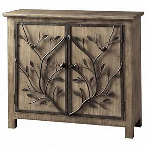 Windcrest rustic wood and metal tree 2 door cabinet for Kitchen cabinets lowes with metal tree branch wall art