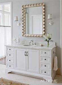 scalloped rectangle mirror transitional bathroom With what kind of paint to use on kitchen cabinets for gold mirror wall art