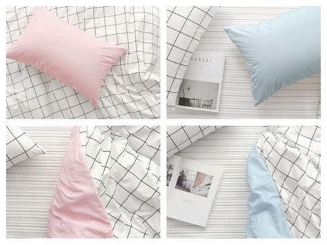 2480 aesthetic bed sheets home accessory pastel pink pastel blue grid bedding