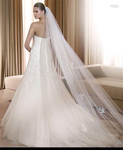 Long Cut Ivory White 1t Long Wide Simple Bridal Veils
