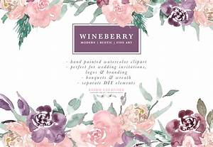 wine berry burgundy watercolor flowers clipart watercolor With beautiful wedding invitation watercolor flowers