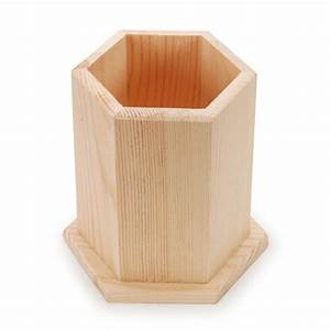 Unfinished Wood Pen and Pencil Holder: Hexagon Cup