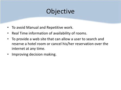 How To Write An Objective For A Hotel Resume by Hotel Reservation System Project