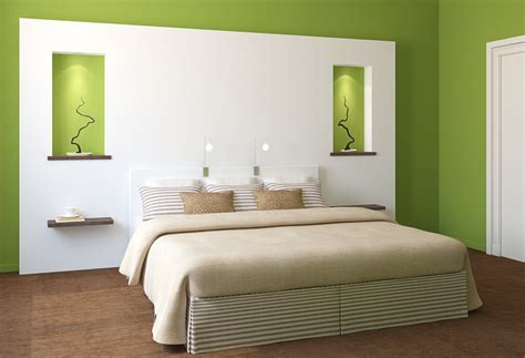 Bedroom Green Walls With White Furniture  Interior Design