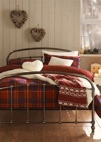 cosy red  blue tartan flannelette bedding set