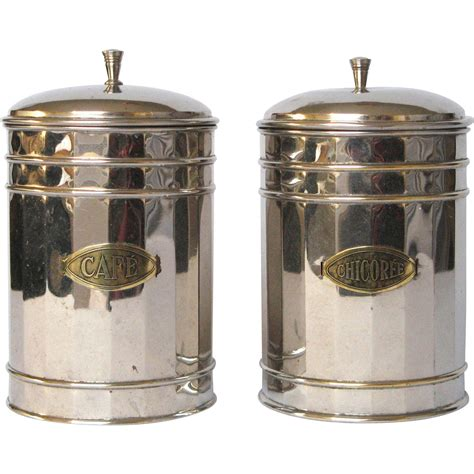 coffee kitchen canisters pair of vintage chrome plated kitchen canisters