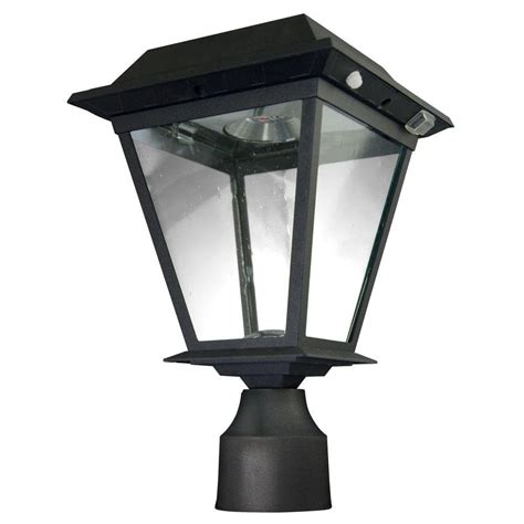 solar led outdoor l post xepa stay on whole night 300 lumen 77 in outdoor black