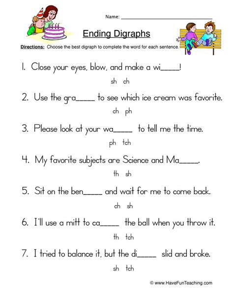 ending digraphs worksheet sentences teaching