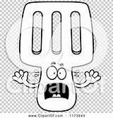Screaming Coloring Spatula Mascot Outlined Clipart Cartoon Vector Cory Thoman sketch template