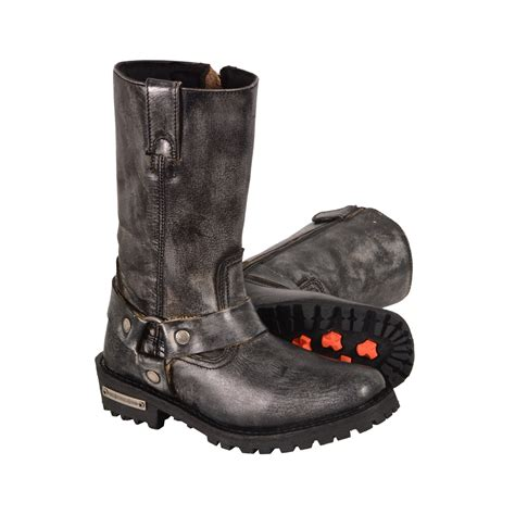 real leather biker boots ladies motorcycle genuine leather distressed grey boots