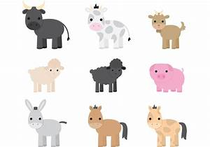 Cute Farm Animal Vectors - Download Free Vector Art, Stock ...