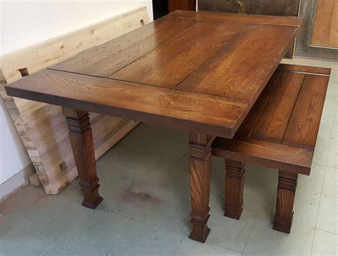 handmade solid oak farmhouse table  bench  american