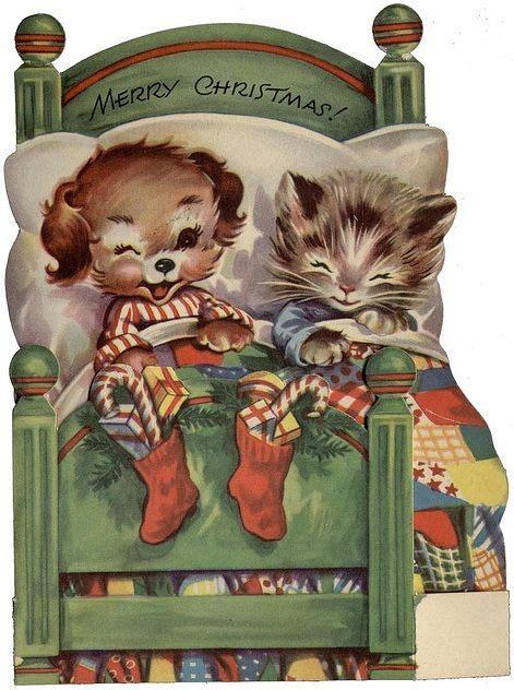 vintage dog cat christmas card vintage christmas