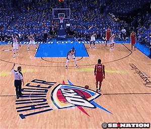 (GIF) James Harden sinks three pointer after rolling ball ...