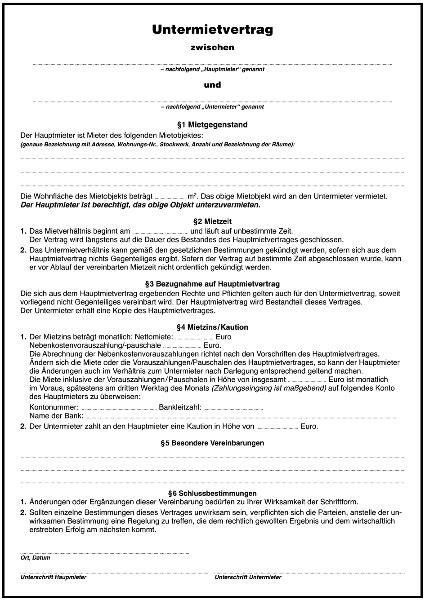 untermietvertrag formular gratis zum