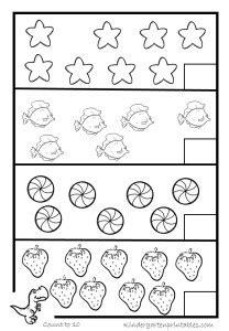 counting worksheets   kindergarten printables