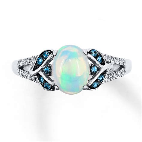 natural white opal jared natural opal ring 1 15 ct tw diamonds 10k white gold