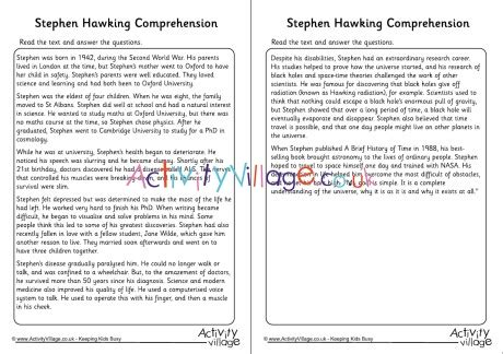 stephen hawking biography worksheet stephen hawking comprehension
