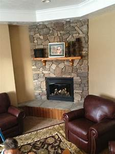 Decorations Stacked Stone Fireplace Mantels At Moder Home