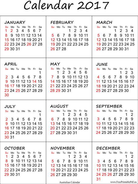 2017 calendar template pdf australian 2017 calendar printable free printable pdf