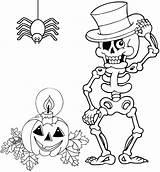 Coloring Skeleton Halloween Spider Pumpkin Mitraland sketch template