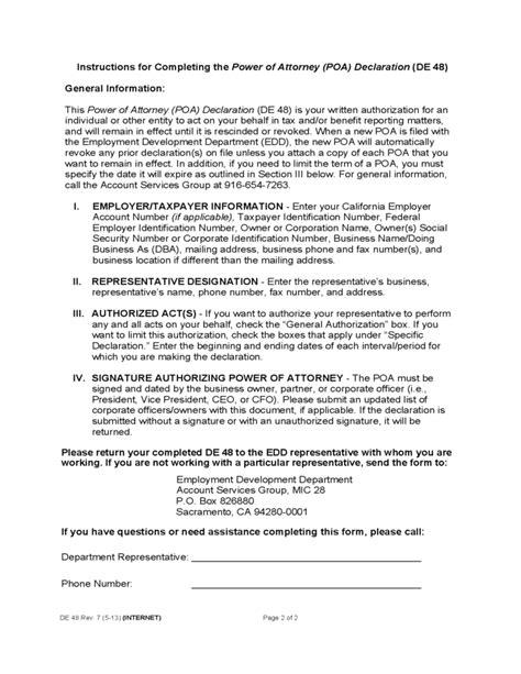 power  attorney declaration california edd