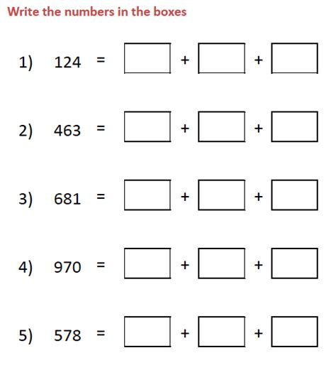 maths partitioning worksheets partition 4 digit numbers