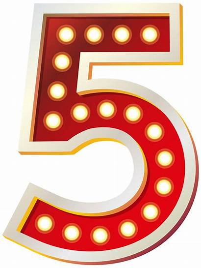 Number Clip Five Clipart Lights Transparent Numbers