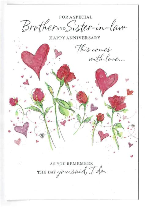 brother  sister  law anniversary card  love