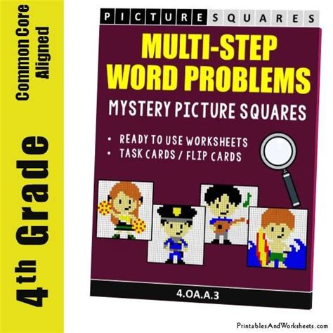 4th Grade Multistep Word Problems Mystery Pictures Coloring Worksheet  Printables & Worksheets