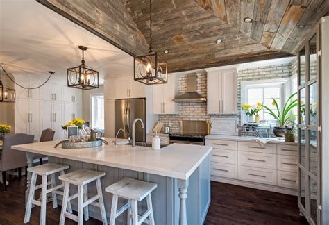 Whitewashed Brick & Reclaimed Barn Wood Shiplap Interiors