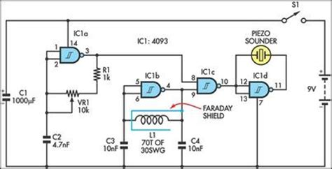 simple bfo metal locator circuit diagram