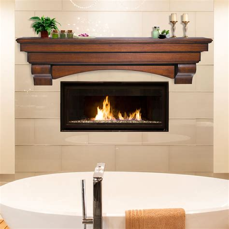 wood fireplace shelves mantels rustic pine wood