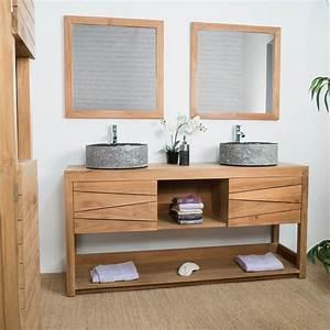 meuble sous vasque double vasque en bois teck massif With meuble double vasque de salle de bain