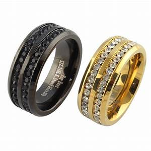 Black gold crystal his and her promise ring sets wedding for Promise engagement wedding ring set