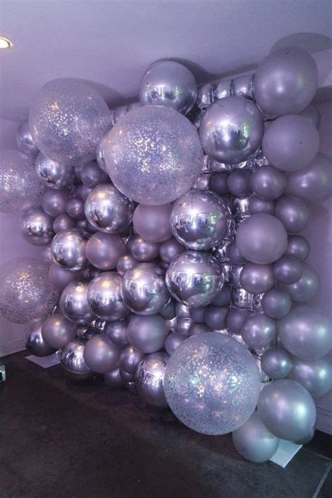 silver balloon wall backdrop balloon decorations silver