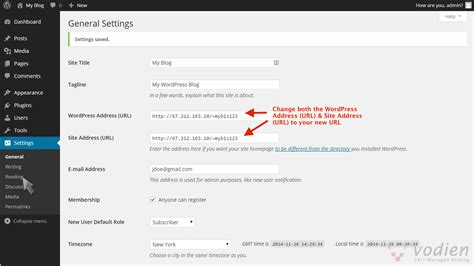 How To Change Site Url (dashboard And